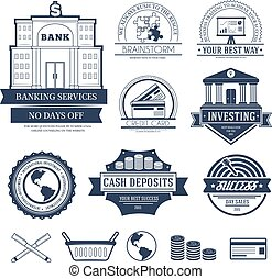 Business set label template of emblem element for your product or design, web and mobile applications with text. Vector illustration with thin lines isolated icons on stamp symbol.
