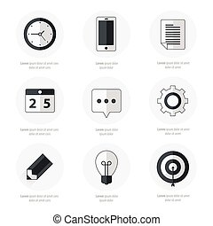 business Set of flat design icons Black Color Style
