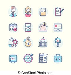 Business - set of line design style icons isolated on white...