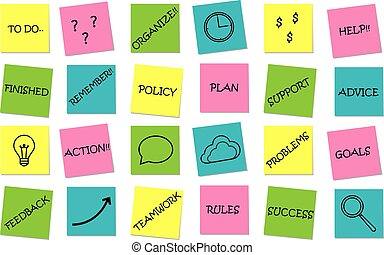 Business set of sticky notes messages
