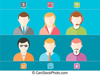 Business set of stylish avatars of woman girls and man guys