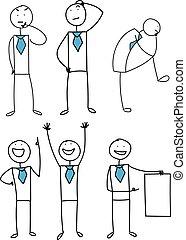 business, set., vecteur, illustration, stickman