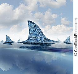 Business Shark - Business shark concept as gears and cog ...