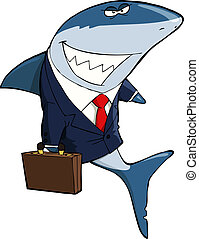 Business shark - Business Shark on a white background vector...