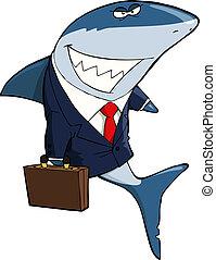 Business Shark on a white background vector illustration