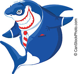 Cartoon smiling shark in the suit