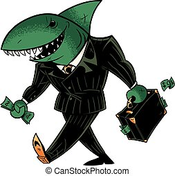 Business Shark Dark Suit - Concept illustration with cartoon...