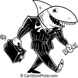Business Shark Dark Suit Line Art - Concept line art,...