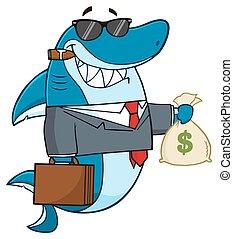Business Shark Holding A Money Bag