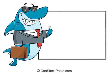 Business Shark Holding A Thumb Up