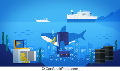Business Shark in Ocean. City in Ocean. Safe with Gold Barrels of Oil. Tourist Ship and Yacht.