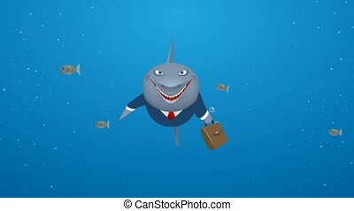 Business shark in sea - Video of a business shark in sea