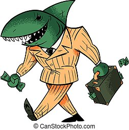 Business Shark Isolated - Concept illustration with cartoon...