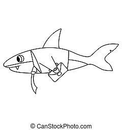 Business shark outline. Isolated vector illustration