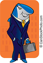 Business Shark - Vector illustration
