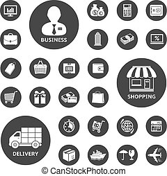 Business, shopping and delivery icon set