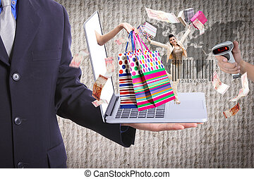Business show shopping concept with his laptop