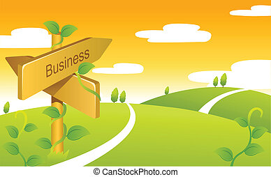 Business Sign boards on Green landscape