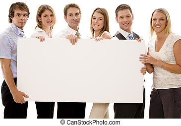 Six business men and women holding a big blank sign
