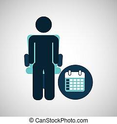 business silhouette man calendar planning