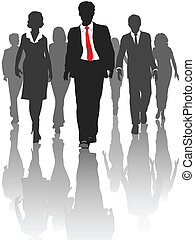 Business silhouette people walk forward toward progress.