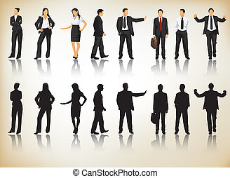 Collection of business people silhouettes in different positions