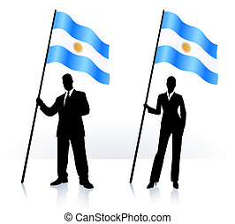 Business silhouettes with waving flag of Argentina -...