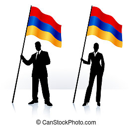 Business silhouettes with waving flag of Armenia