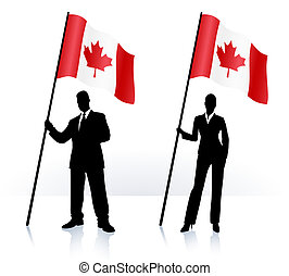 Business silhouettes with waving flag of Canada