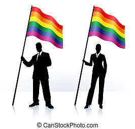 Business silhouettes with waving flag of Gay Pride Original...