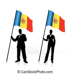 Business silhouettes with waving flag of Moldova