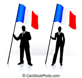 Business silhouettes with waving flag of France