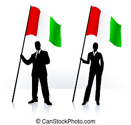 Business silhouettes with waving flag of Italy