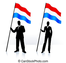 Business silhouettes with waving flag of Luxenburg