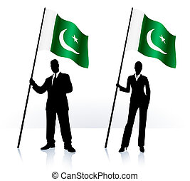 Business silhouettes with waving flag of Pakistan