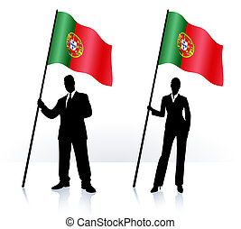 Business silhouettes with waving flag of Portugal