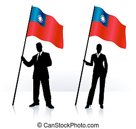 Business silhouettes with waving flag of Taiwan