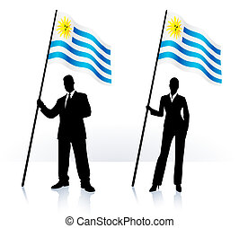 Business silhouettes with waving flag of uruguay