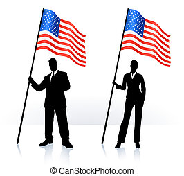 Business silhouettes with waving flag of  Original Vector Illustration AI8 compatible