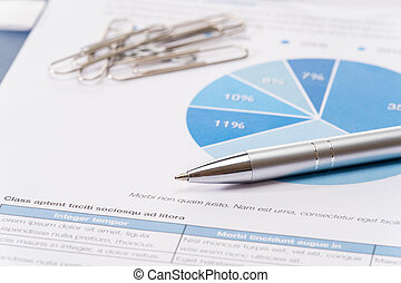 Business silver pen over office paper charts
