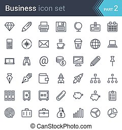 Business simple thin icon set isolated on white background