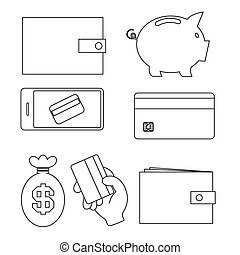 Business - Simple Vector Outline Money Icons Isolated on White Background