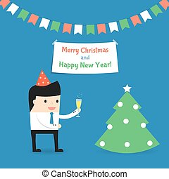 Businessman celebrates Christmas and New Year. Vector illustration.