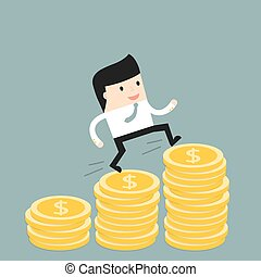 Business situation. Businessman climbs the stairs of money. Symbol of revenue growth. Vector illustration.