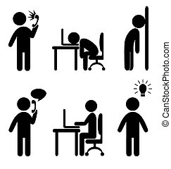 business situation icons - Set of business office situation...
