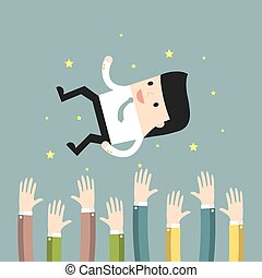 Business situation. People throw a businessman in the air. Concept of success. Vector illustration.