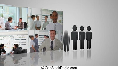Business situations pictures appearing against grey...