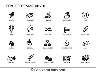 business, situations, set., démarrage, symboles, vecteur, divers, icône