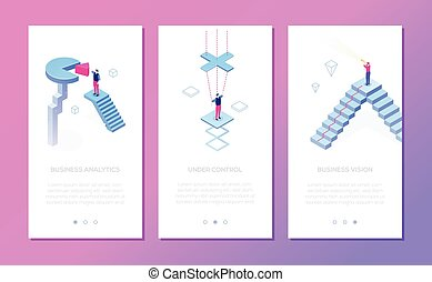 Business situations - set of isometric vector vertical web banners