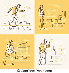 Business situations - set of line design style illustrations